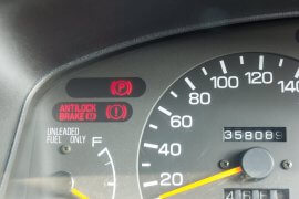 Car dashboard warning light anti-lock brake symbol