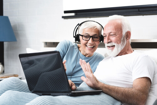 elderly citizens on a video call